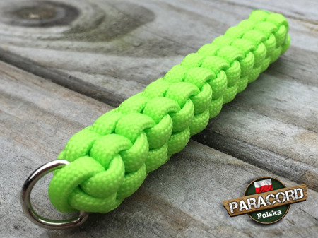 "Brelok survivalowy z Paracordu 550 o splocie ""Box Knot"", kolor ""Fluor green"""