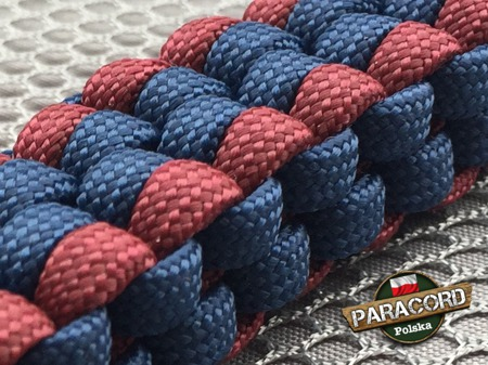 "Brelok survivalowy z Paracordu 550 o splocie ""Royal Box Knot"", kolor: ""Dark blue - Dark red"""