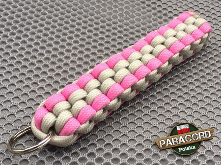 "Brelok survivalowy z Paracordu 550 o splocie ""Royal Box Knot"", kolor: ""Light grey - Pink"""