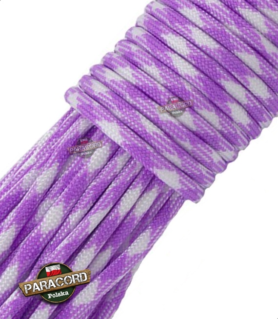 Paracord 550, kolor: Bright Purple White Camo - linka spadochronowa z siedmioma rdzeniami