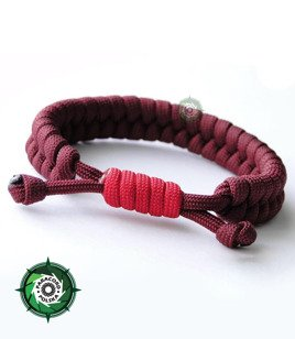 "Bransoleta z Paracordu typ ""FishtailFire"", kolor: ""Dark Red - Red"""