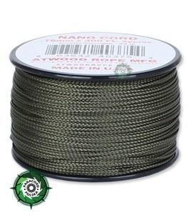 Nano Cord, kolor: Army green - mocna poliestrowa linka o średnicy 0,75 mm.