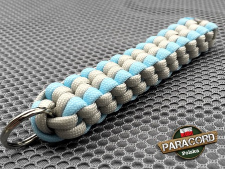 "Brelok survivalowy z Paracordu 550 o splocie ""Royal Box Knot"", kolor: ""Neutral grey - Crystal blue"""