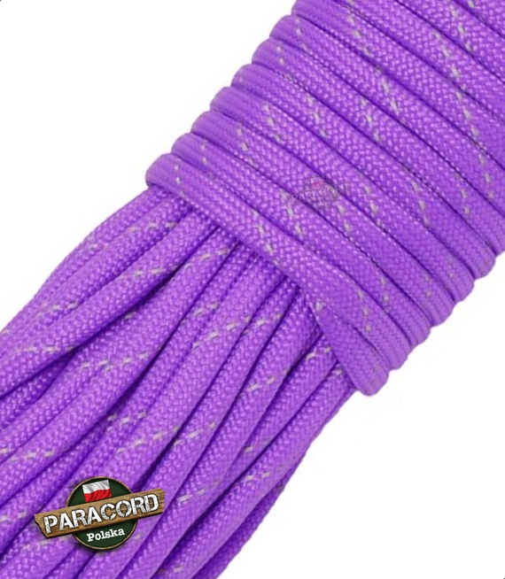 Paracord 550, kolor: Bright Purple Reflective - linka spadochronowa z siedmioma rdzeniami