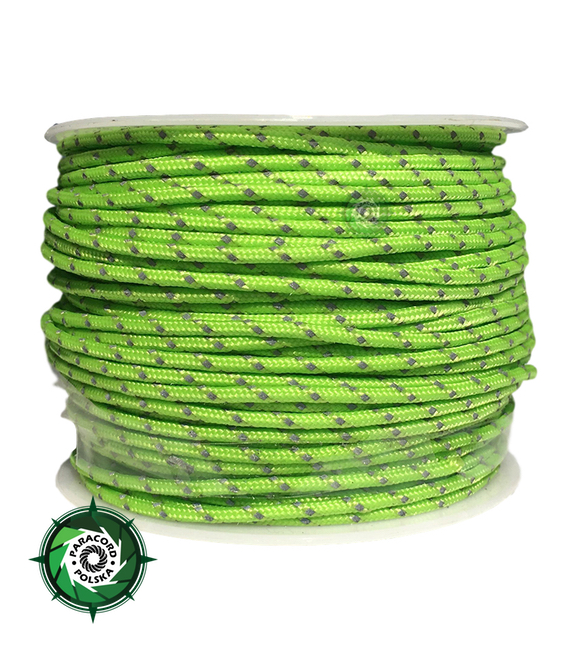 Paracord P3 Cord, kolor: Fluor green reflective - mocna poliestrowa linka o średnicy 2,5 mm.