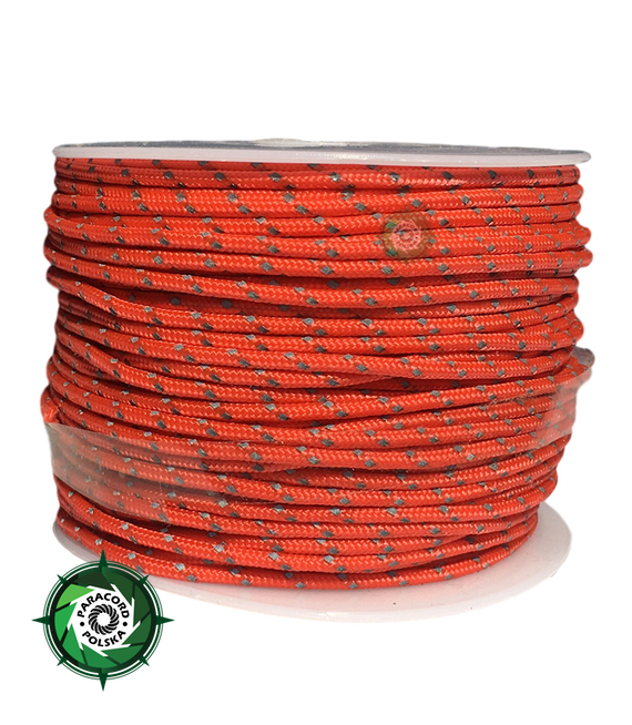 Paracord P3 Cord, kolor: Orange Yellow reflective - mocna poliestrowa linka o średnicy 2,5 mm.